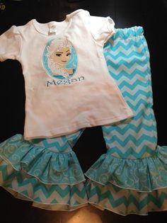 Frozen Shirt and Ruffle Pants set. by SherrySewWhat on Etsy, $45.00