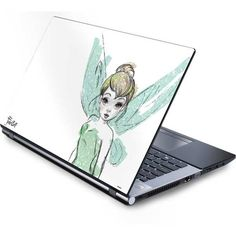 Tinker Bell Watercolor Fairy Laptop Skins ($30) ❤ liked on Polyvore featuring accessories and tech accessories