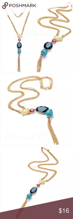 """Gold Summer Gem Tassel Statement Necklace! Fun & Trendy Summer Gem Tassel Statement Necklace! Beautiful Bright colored Gemstones & a Semi-Precious Turquoise Stone along with a multi-chain tassel!   • 14K Gold Plating; Nickel & Lead Free • Semi-Precious Turquoise Gemstone • Crystal Gemstones  ➖Prices Firm, Bundle for 20% Discount ➖""""Trade"""" & Lowball Offers will be ignored ➖Sales are Final, Please read Description & Ask Any Questions! Boutique Jewelry Necklaces"""
