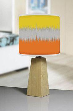 Modern Natural Wood Tripod Table Lamp Geometric 496 Yellow Orange Lampshade.