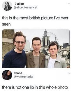 Still cuties without lips and eyebrows — Tom Hiddleston , Benedict Cumberbatch, Tom Holland Really Funny Memes, Stupid Funny Memes, Funny Relatable Memes, Haha Funny, Funny Cute, Funny Stuff, Random Stuff, Funny Marvel Memes, Marvel Jokes
