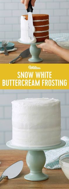 Snow White Buttercream Frosting Recipe - Here is the classic wedding cake icing. Snow-White Buttercream is used for icing cakes smooth, borders, flowers and more. Its pure white color yields the truest colors. #buttercream #frosting #cakedecorating #baking