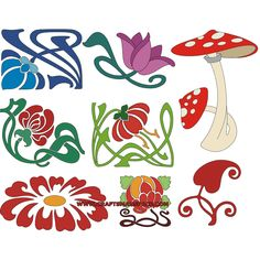 """Design elements in the Art Nouveau stile.   FREE """"PERSONAL USE"""" DWG, SVG, EPS FILES."""
