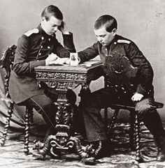 Grand Dukes Alexander Alexandrovich Romanov of Russia (the future Tsar Alexander lll of Russia) with his brother Grand Duke Vladimir Alexandrovich Romanov of Russia.A♥W