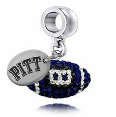 Pittsburgh Pitt Panthers Crystal Football Drop Charm Fits Beaded Charm Bracelets