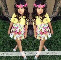 Aliexpress.com: Compre Moda meninas saia terno flor impresso T shirt + saia preta 2 PCS bebê meninas roupas Set 2015 verão de confiança Conjuntos fornecedores em [ Babyinstar ] Children's Store