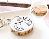 Personalized Keychain Bunny Monogram Initials Name Custom Reclaimed Wood Cute Illustration Drawing Key Chain Ring Wooden Rabbit Eco Friendly
