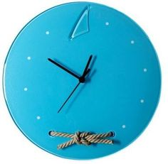 Veritas Handmade Rope Knot Round Glass Wall Clock in Marine Blue