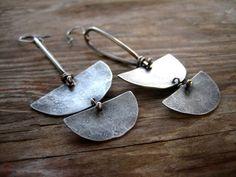Nomad Earrings Sterling Silver Half Moon Dangle by sierrakeylin, $68.00