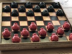 Lady Bug Checkers -Small statues painted - Barn wood board - Made by Old Barn Salvage- Genoa IL. Genoa, Lady Bug, Barn Wood, Statues, Board, Ladybug, Miraculous Ladybug, Effigy, Ladybugs