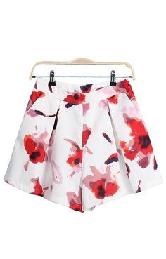 High Waist Pleating Printed Shorts