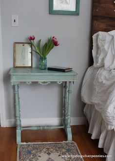 Crackled Bedside Table, one to one ratio of Annie Sloan Chalk Paint in Provence and Old White | Silver Pennies