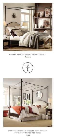 @potterybarn Aberdeen Canopy Bed (Full) $1,599 Vs Overstock Inspire Q Andover White Curved  Top Canopy Poster Bed (Full) $432