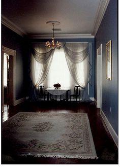 Simple sheer window curtains...  http://ashlandbelle.com/plantations.html