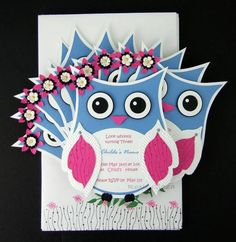 Owl Birthday Invitations by Rox71 - Cards and Paper Crafts at Splitcoaststampers In green tho