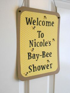 Items similar to Bee Themed Baby Shower Door Sign What Will It Bee Mommy To Bee Banner on Etsy Baby Shower Fun, Baby Shower Gender Reveal, Baby Shower Parties, Baby Shower Themes, Baby Boy Shower, Baby Shower Decorations, Baby Shower Gifts, Shower Ideas, Baby Showers