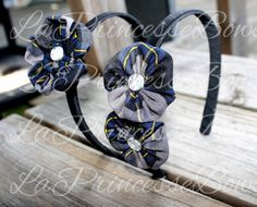 PICK your PLAID School Uniform Headband Flower Hair Accessories Bows by #LaPrincesseBows catholic school private school school uniform m2m blue gray plaid