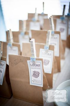 Cute FAVOR BAGS at a First Birthday Office Party with So Many Adorable Ideas via Kara's Party Ideas | KarasPartyIdeas.com