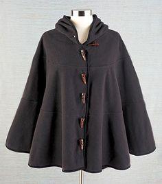 Womens Fleece Hooded Batwing Cape Camel Charcoal Poncho Cloak Coat Jacket