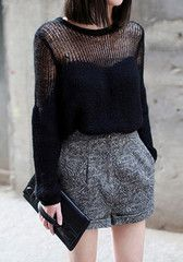 Open Weave Pullover - Black - Edgy Black Knit Sweater