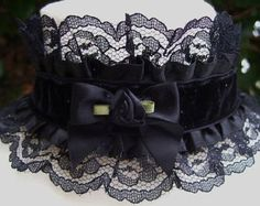 Gothic Lolita Black Velvet and Lace Satin Rose Bow Choker