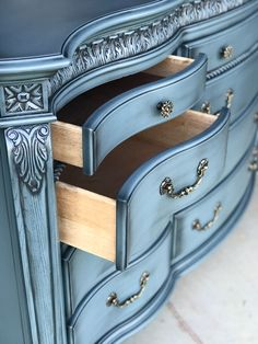 Large 12 drawer dresser blue glaze bedroom buffet furniture nightstand furniture entertainment center furniture for kitchen furniture thrift stores Chalk Paint Furniture, Funky Furniture, Refurbished Furniture, Repurposed Furniture, Furniture Projects, Furniture Making, Furniture Makeover, Furniture Design, Cheap Furniture