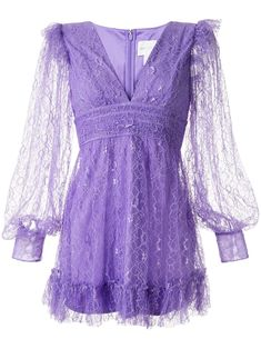 Violet Floyd lace mini dress from Alice McCALL featuring a V-neck, long sheer sleeves, a rear zip fastening, a fitted waist, a short length and a ruffled hem. Blackpink Fashion, Women's Fashion Dresses, Casual Dresses, Short Dresses, Purple Mini Dresses, Summer Dresses, Dress Png, Alice Mccall, Different Dresses