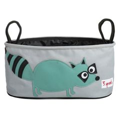 This 3 Sprouts Raccoon Stroller Organizer will keep all your essentials organized and within reach when you are out for a walk with your little one. The Stroller Organiser has two insulated drink holders and is completely wipeable. It has a discreet back pocket with velcro fastening for your phone or keys.