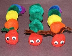 Pom Poms + Magnetic tape -- The hungry Caterpillar and friends