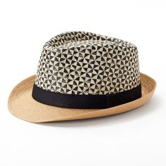 Women's SONOMA Goods for Life™ Geometric Fedora, Nat Black (25 CAD) ❤ liked on Polyvore featuring accessories, hats, nat black, straw fedora, brimmed hat, fedora hat, pattern hats and straw hat