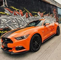 Orange 2015 mustang with matte black stripes. The graffiti compliments it.