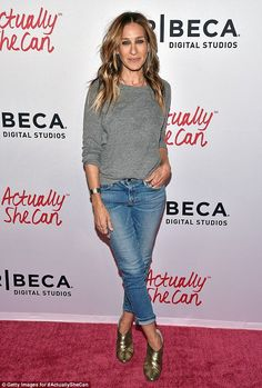 Simple style: Sarah Jessica Parker rocked a very wearable look to Tribeca Film Festival event, ActuallySheCan shirt film series, in New York on Thursday