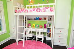 Desks for Kids Added to Study and Playroom: Appealing Craftsman Kids Bedroom With White Desk White Chairs White Shelves And The White Loft Bed ~ SFXit Design Kids Room Inspiration