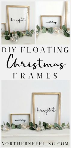 Make easy & simple framed glass Holiday floating signs and decorate for the season. Holiday Signs, Christmas Signs, Christmas Projects, All Things Christmas, Holiday Crafts, Diy Christmas Frames, Christmas Villages, Christmas Mantels, Merry Christmas