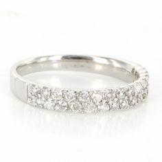 Estate 14 Karat White Gold Diamond Stack Band Ring Fine Jewelry $695