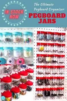 Our best selling Pegboard Jars are back in stock. Come visit us on Amazon and keep organizing. Cheers! Pegboard Craft Room, Pegboard Organization, Organizing, Craft Rooms, Organization Ideas, Playroom Decor, Wall Decor, Playroom Ideas, Art Supplies Storage