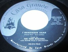1957 Doo Wop 45 Rpm The Tune Weavers I REMEMBER DEAR / PAMELA JEAN On Casa Grande 4038.. This R&B vocal ensemble came from Woburn, Massachusetts, USA, and comprised lead Margo Sylvia (b. 4 April 1936), her husband and bass Johnny Sylvia (b. 8 September 1935), her brother and tenor Gilbert J. Lopez (b. 4 July 1934), and her cousin and obligato Charlotte Davis (b. 12 November 1936). The group got together in 1956 and within six months were recording for