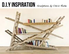 Use your ladder to make an unconventional conversation starting book case.