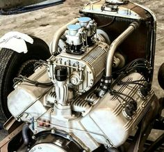 """"""" Ford Flathead supercharged with an Ardun OHV conversion - Engine Porn """" Hemi Engine, Gasoline Engine, Car Engine, Buick, Crate Engines, Traditional Hot Rod, Performance Engines, Kustom Kulture, Drag Racing"""