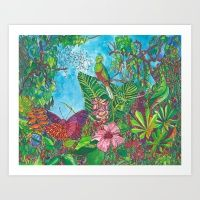 Art Print featuring The Three Secrets of the Selva by Juliana Kroscen Got Print, Buy Frames, Printing Process, Paint Colors, Watercolor Paintings, The Secret, Gallery Wall, Tapestry, Throw Pillows