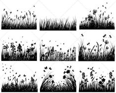 Buy Meadow Silhouette Set by angelp on GraphicRiver. ZIP contain: Fully editable EPS 8 Vector illustration. Silhouette Tattoos, Grass Silhouette, Landscape Silhouette, Flower Silhouette, Silhouette Vector, Garden Tattoos, Landscape Tattoo, Nature Tattoos, Flower Tattoo Designs
