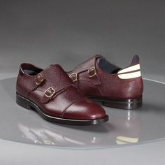 Double Monk Strap Shoe in Oxblood Pebble-Grain Calfskin.