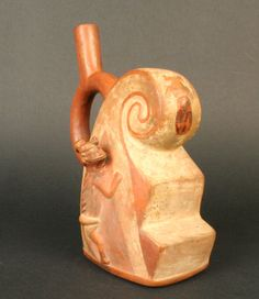 Museo Chileno de Arte Precolombino » Botella asa estribo: ola, dios iguana y sacrificio