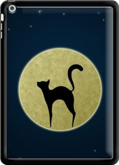 Cat silhouette By EDrawings38 for iPad air #edrawings38 #graphic #cat #silhouette #night #moon #tabletcase #thekase