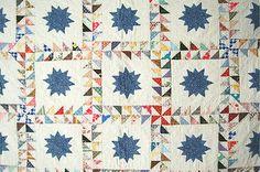 Large Vintage 40's Ocean Waves Pinwheels Stars Antique Quilt ~GREAT DESIGN!