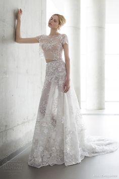 mira zwilinger 2016 stardust bridal lola beaded floral embellished crop top and hand made floral embellished skirt wedding dress