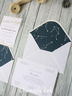 Invitación boda constelaciones. Invitación boda estrellas. Invitación boda cosmos. Invitaciones boda personalizadas.