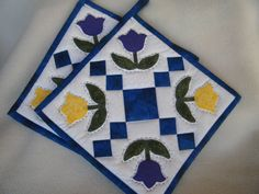 Purple and Yellow Tulip Quilted Potholders - Set of 2 - HANDMADE BY ME