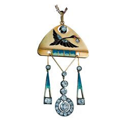 CARL FABERGE Neo-Russian Style Enameled Gold Pendant   From a unique collection of vintage drop necklaces at http://www.1stdibs.com/jewelry/necklaces/drop-necklaces/