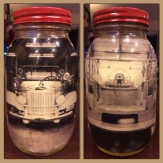 Fire department banquet - mason jars, red spray painted lids, B&W vehicle photos (one of the front end, one of the back), vegetable oil. #firemen #firefighter
